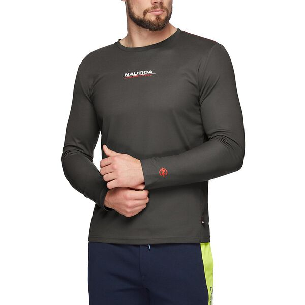 NAUTICA COMPETITION COOLING LONG SLEEVE TEE, CARBON, hi-res