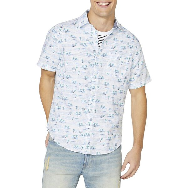 Classic Fit Short Sleeve Printed Linen Shirt, Bright White, hi-res