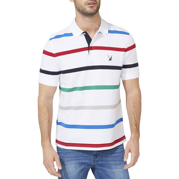 Classic Fit Engineered Gradient Stripe Polo, Bright White, hi-res