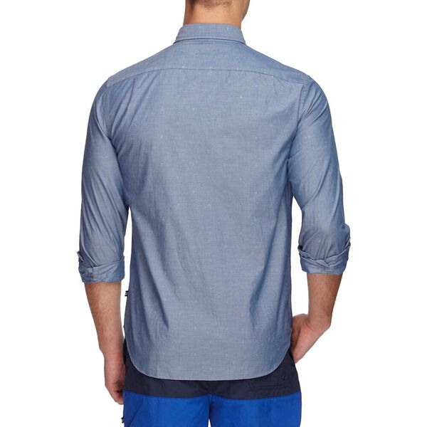 Dobby Print Poplin Long Sleeve Shirt, Ensign Blue, hi-res