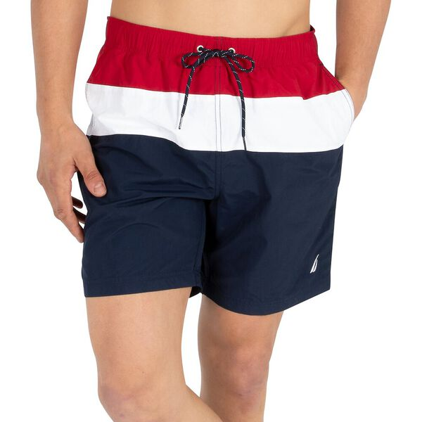 "Block Banded 8"" Swim Shorts, Nautica Red, hi-res"