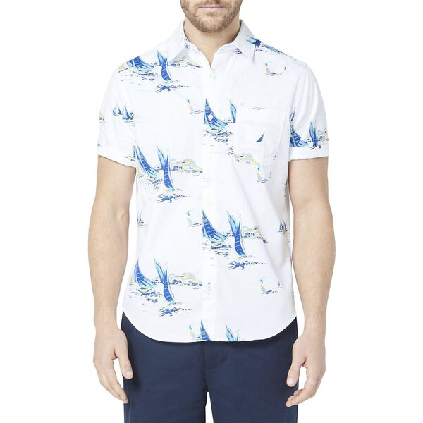 Classic Fit Large Boat Print Shirt White, Bright White, hi-res