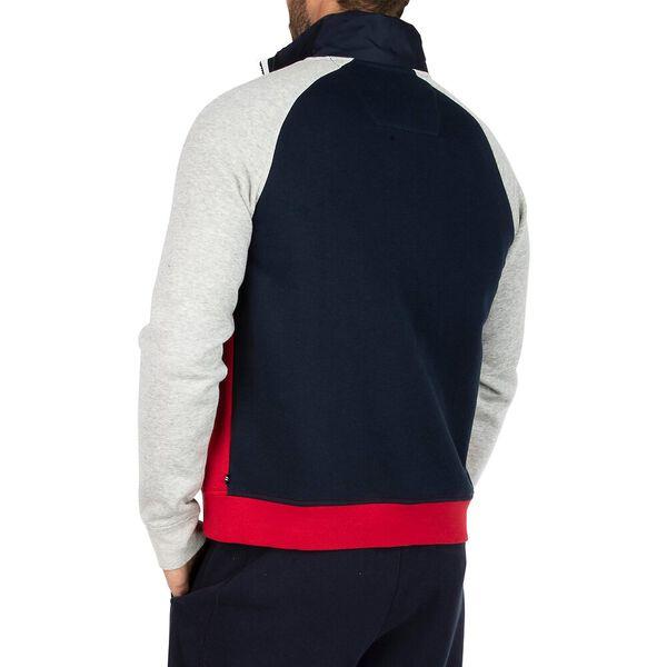 Tri-Colour Mock Neck Zip Sweater, Navy, hi-res
