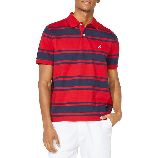 Classic Fit Striped Polo, Nautica Red, hi-res