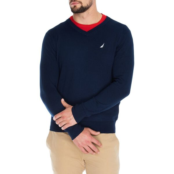 JERSEY NAVTECH V-NECK SWEATER, NAVY, hi-res