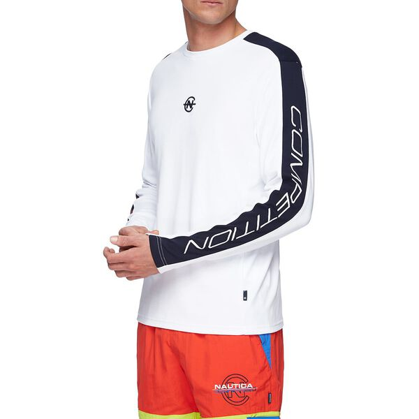 NAUTICA COMPETITION BLOCK LONG SLEEVE TEE, BRIGHT WHITE, hi-res