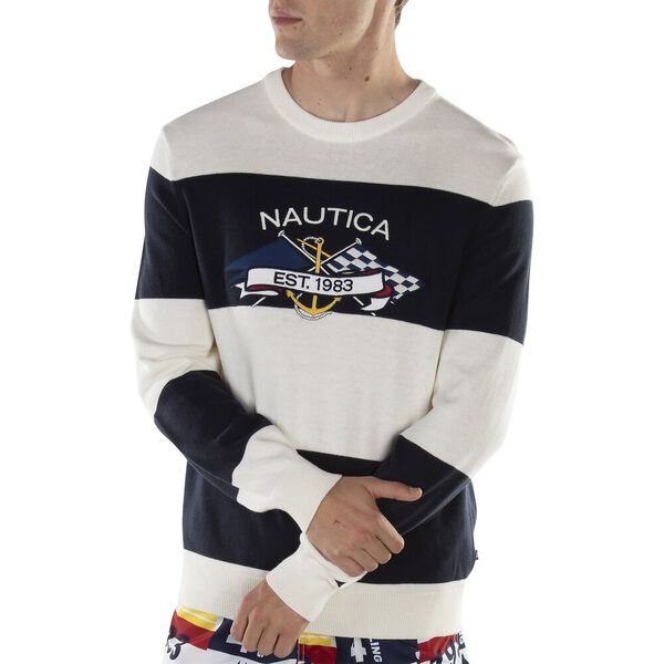 CREW STRIPE APPLIQUE EMBROIDERY SWEATER, Marshmallow, hi-res