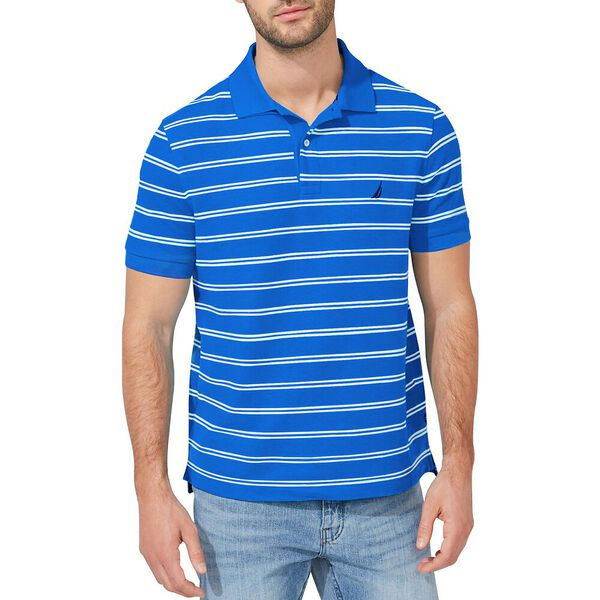 Performance Classic Fit Stripe Deck Polo, Spinner Blue, hi-res