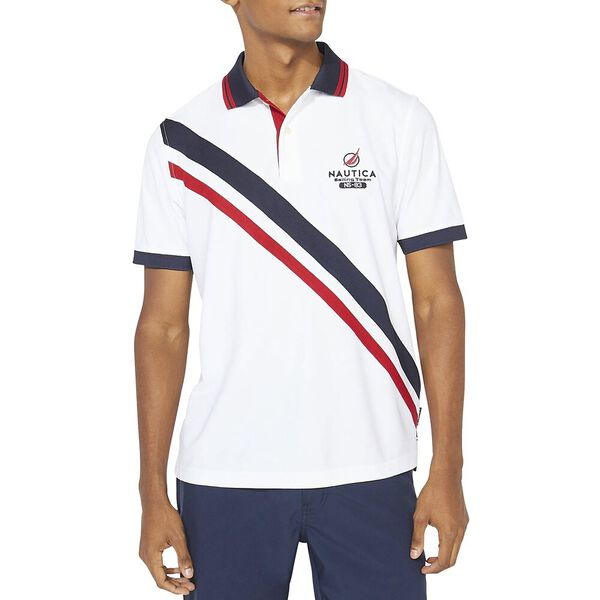 Classic Fit Diagonal Block Polo, Bright White, hi-res