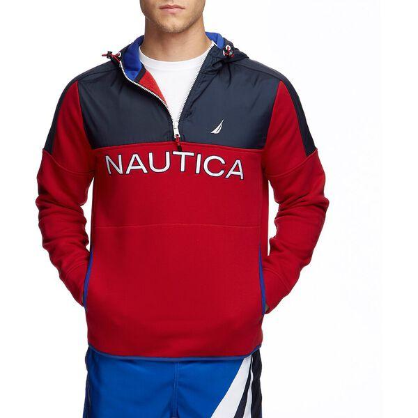 Nautex Colour Blocked 1/2 Zip Pullover Hoodie, Nautica Red, hi-res