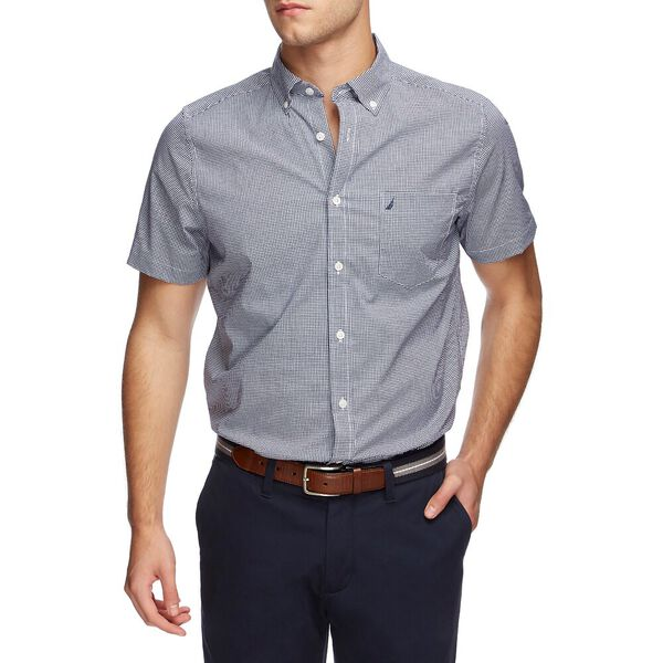 Classic Fit Wrinkle Resistant Short Sleeve Gingham Shirt, Just Navy, hi-res