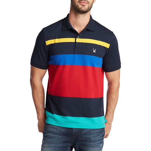 Colourblock Stripe Polo, Navy, hi-res