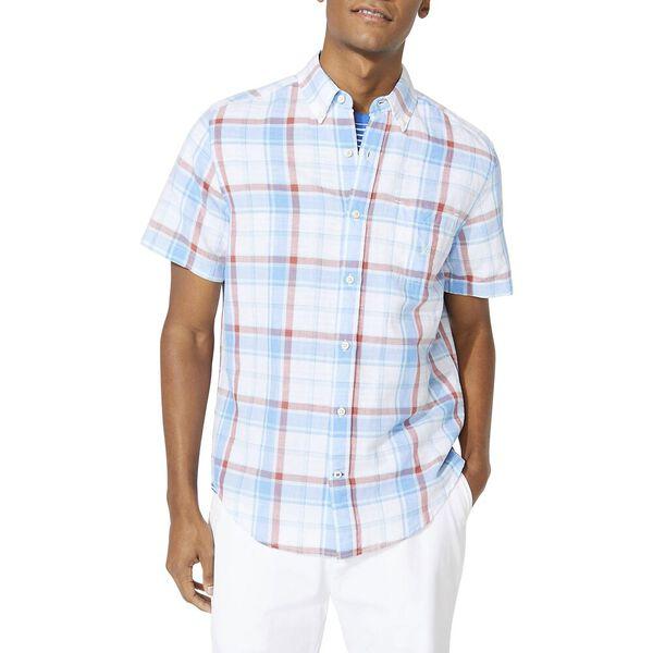 Classic Fit Blue Sail Linen Blend Plaid Short Sleeve Shirt