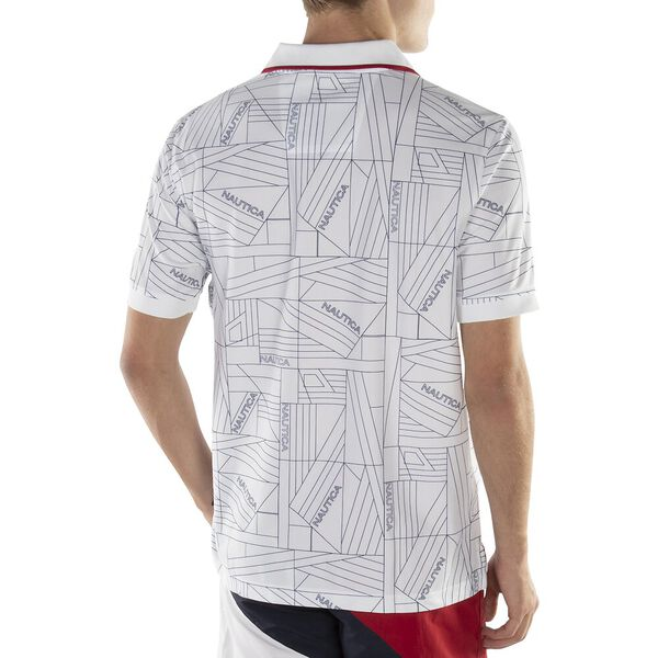 CLASSIC FIT PRINTED N-83 PERFORMANCE POLO, BRIGHT WHITE, hi-res