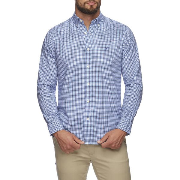LONG SLEEVE NAVTECH PLAID SHIRT, CLEAR SKIES BLUE, hi-res