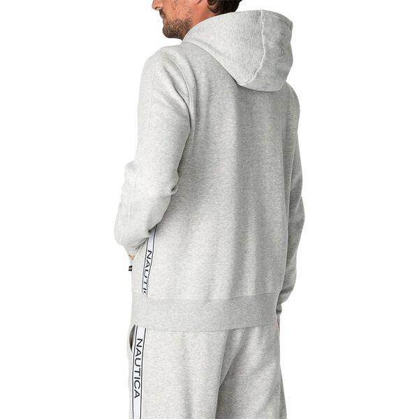 Nautica Unisex Logo Taping Full Zip Hoodie, Grey Heather, hi-res