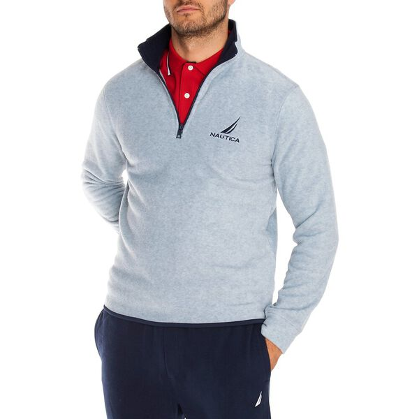 Nautex Pop Collar Half Zip Fleece, Grey Heather, hi-res