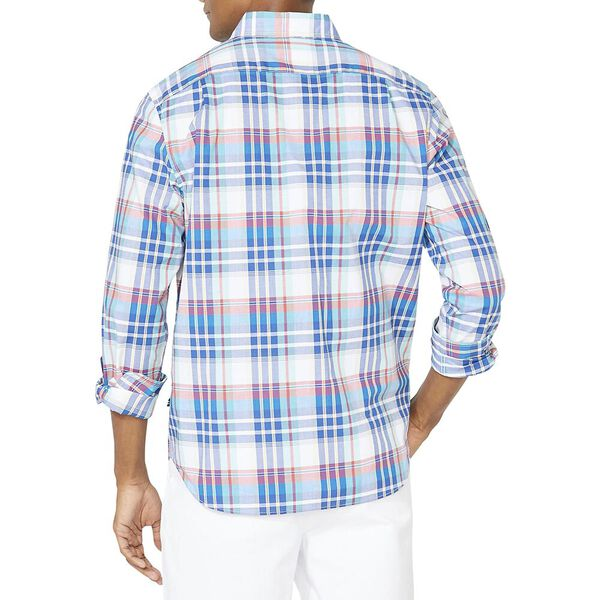 Classic Fit Long Sleeve Plaid Shirt, Bright White, hi-res