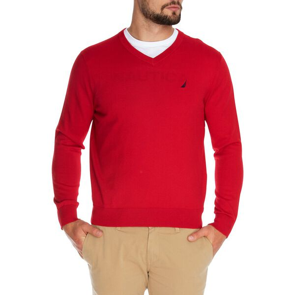 Jersey Navtech V-Neck Sweater, Nautica Red, hi-res
