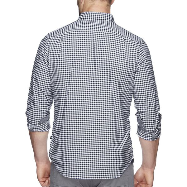 GINGHAM OXFORD STRETCH LONG SLEEVE SHIRT, JUST NAVY, hi-res