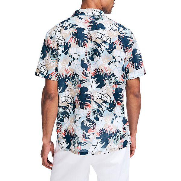 Palm Print Linen Shirt, Denim Wash, hi-res