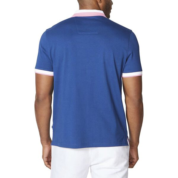 Big & Tall Cotton Stripe Collar Polo, Estate Blue, hi-res
