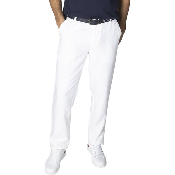 New Classic Cotton Linen Chino Pants, Bright White, hi-res