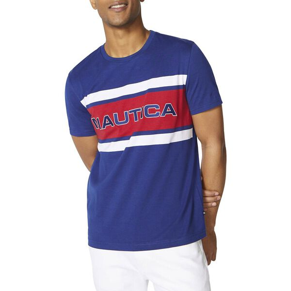 Branded Contrast Nautica Tee, Estate Blue, hi-res