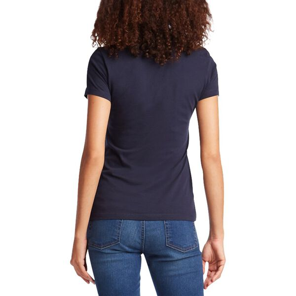 Cotton Solid V-Neck Tee, Navy Seas, hi-res
