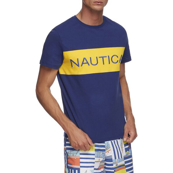 NAUTICA BLOCKED CREW NECK TEE, BLUE DEPTHS, hi-res