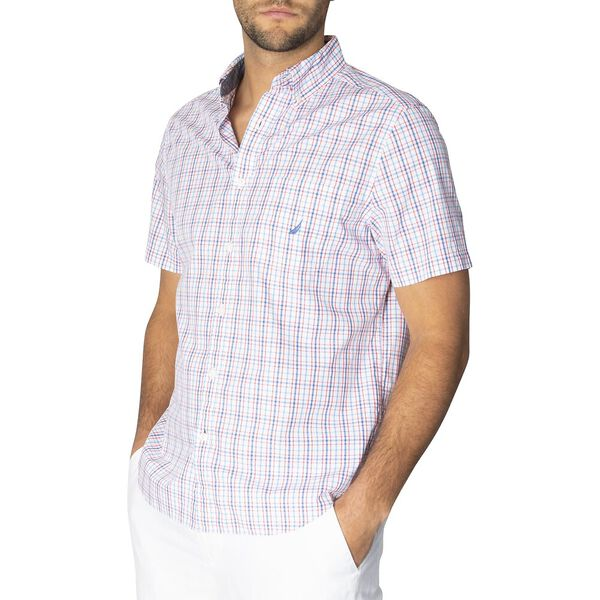 Classic Fit Short Sleeve Checked Shirt, Bright White, hi-res