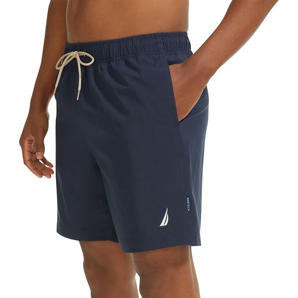 """Sustainably Crafted Dual Band 8"""" Swim Shorts, Navy, hi-res"""