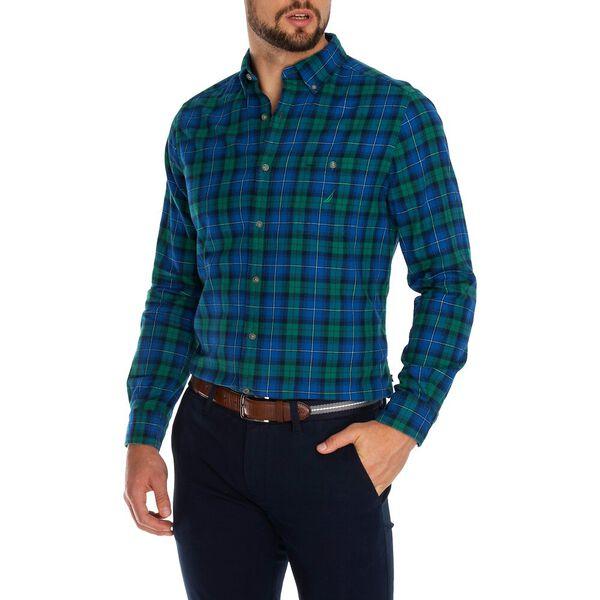 Classic Fit Brushed Cotton Plaid Shirt, Spruce, hi-res