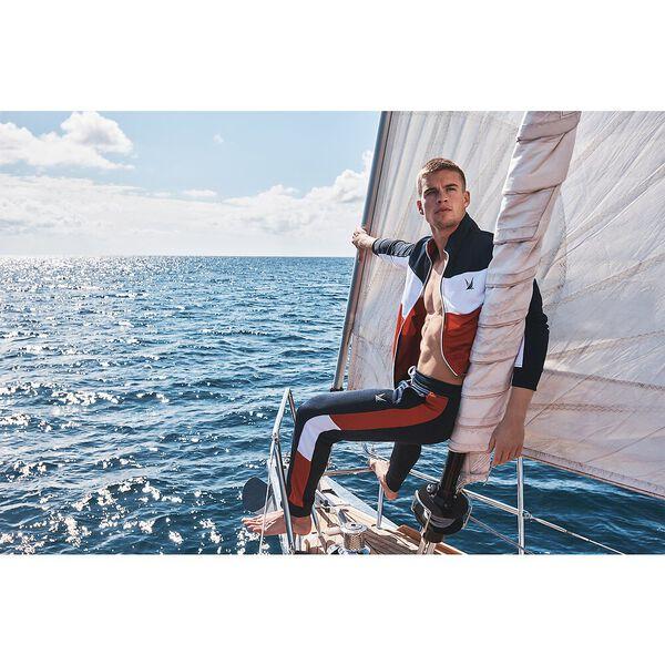 Nautica Retro Shine Blocked Track Jacket, Navy, hi-res