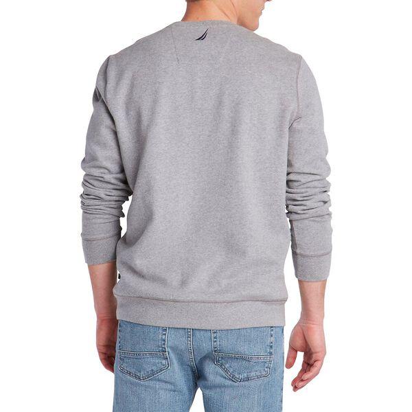 Fleeced Graphic Crew Sweater, Stone Grey Heather, hi-res