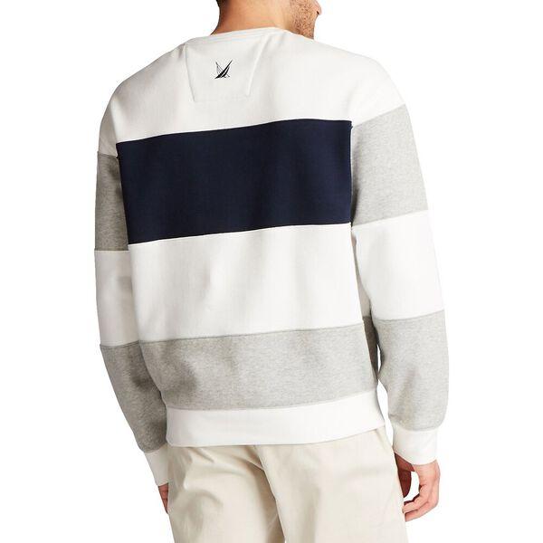 Nautica Fleece Blocked Crew Sweater, Sail White, hi-res