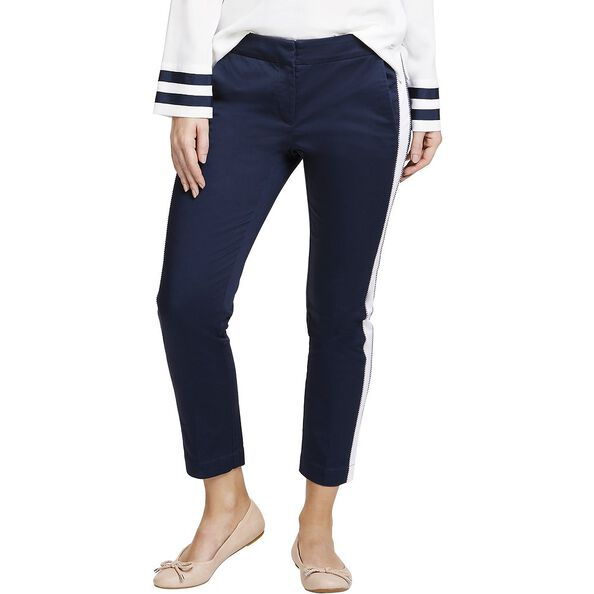 CONTRAST PANEL SLIM FIT PANTS, NAVY SEAS, hi-res