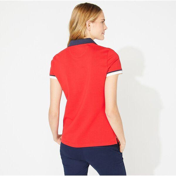 Colourblock Contrast Collar Sporty Polo, Bright Red, hi-res
