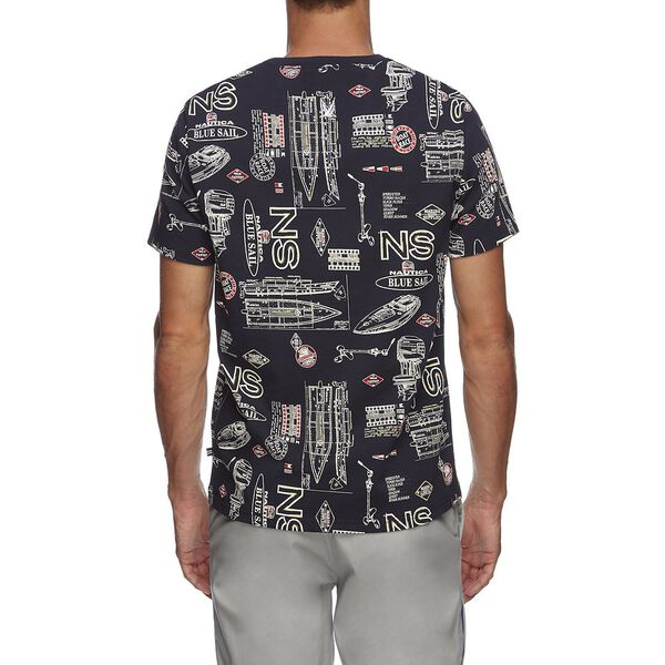 Blue Sail Navigate All Over Print Tee, NAVY, hi-res