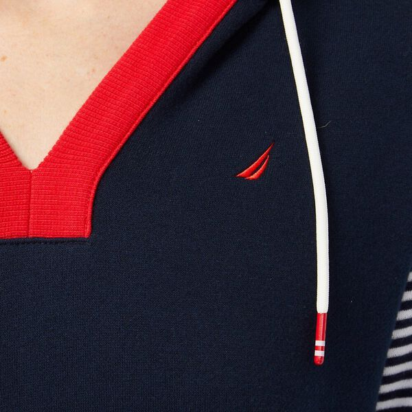 Bands and Stripes Hoodie Dress, Navy, hi-res
