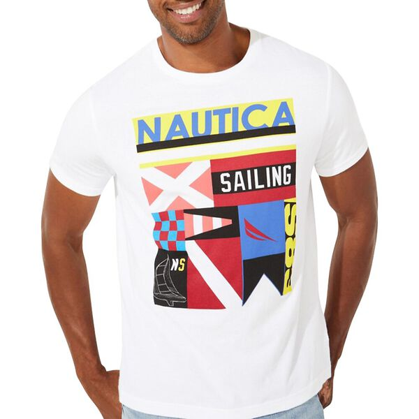 Signal Flag Collage Graphic Tee, Bright White, hi-res