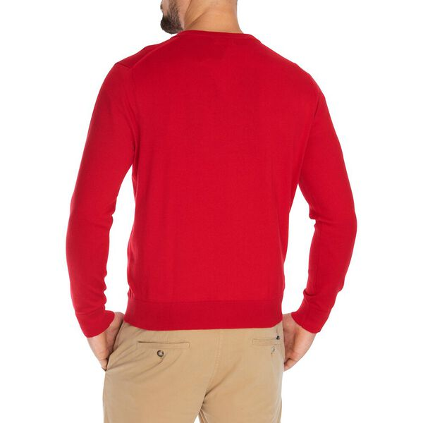 Big & Tall Navtech J-Class V-Neck Sweater, Nautica Red, hi-res