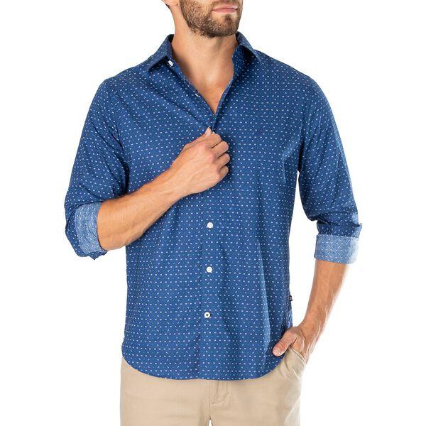 Navtech Double Line Print Shirt, Blue Depths, hi-res
