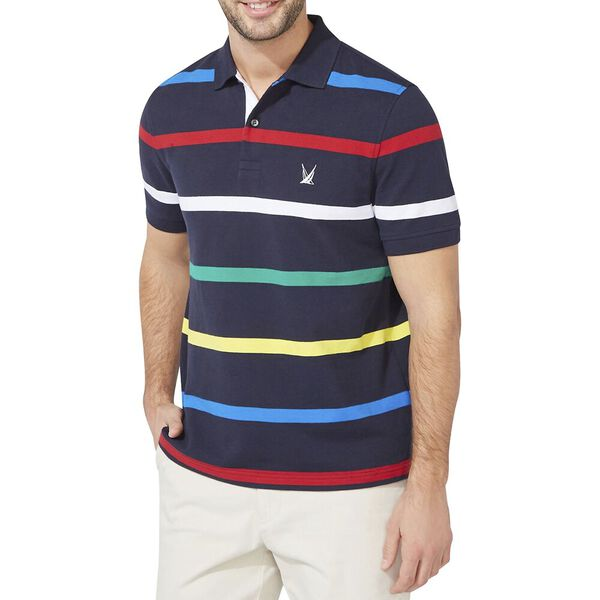 Classic Fit Engineered Gradient Stripe Polo, Navy, hi-res