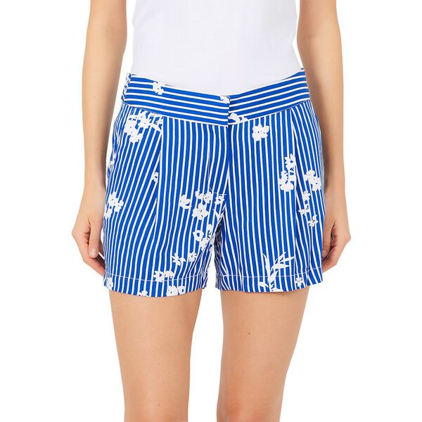 PLEATED FLORAL STRIPE SHORT
