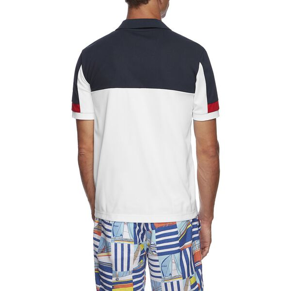 BLUE SAIL TECH BLOCKED POLO, BRIGHT WHITE, hi-res