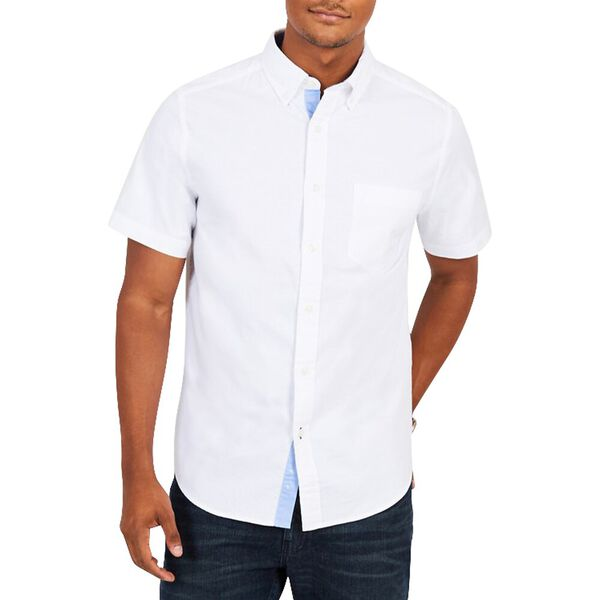 SHORT SLEEVE OXFORD CLASSIC FIT SHIRT, BRIGHT WHITE, hi-res