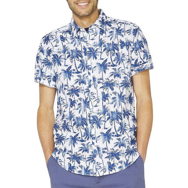 Classic Fit Distressed Print Linen Blend Shirt, Bright White, hi-res