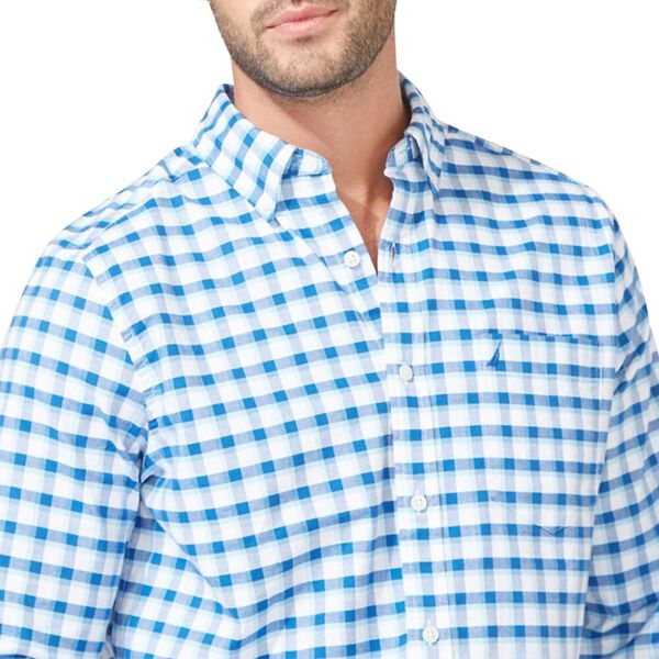 Classic Fit Stretch Oxford In Plaid, Clear Sky Blue, hi-res