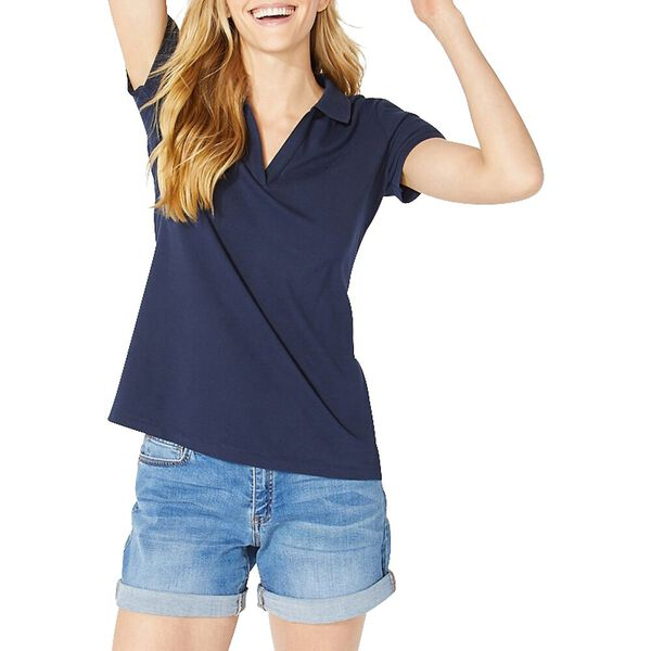 Open Collar Short Sleeve Polo Shirt